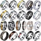 8mm Silver Celtic Dragon Ring Titanium Stainless Steel Men's Wedding Band Rings image