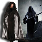 US! Women Halloween Witch Ghost Cosplay Costume Black Dress Hoodie Gown Tunic