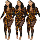 Women Long Sleeves Mesh Leopard Patchwotk Zipper Bodycon Club Party Jumpsuit
