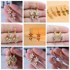 Earrings 18K Gold Filled Drop Dangle Hollow Women Zircon Jewelry Gift wedding image