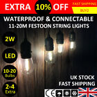 11m/20m Connectable Outdoor LED Festoon Lights   Party S14 Globe Bulb Wedding UK