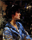 JAMES JEBUSA SHANNON YOUNG WOMAN IN BLUE ARTIST PAINTING REPRODUCTION HANDMADE