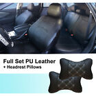 PU Leather 5 Seat Full Set Auto Seat Cushion Covers + Pillows to Dodge 5955 Bk $78.08 CAD on eBay