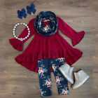 US Boutique Toddler Kids Baby Girl Flower Top Dress Pants Legging Outfit Clothes