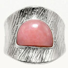 Israeli Design - Pink Opal 925 Sterling Silver Ring Jewelry s.8 SDR54373