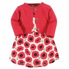 Touched By Nature Girl Organic Cotton Dress and Cardigan Set, Poppy