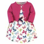 Touched By Nature Girl Organic Cotton Dress and Cardigan, Bright Butterflies