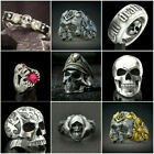 Fashion Men's Titanium Steel Gothic Punk Skull Head Biker Finger Rings Jewelry