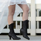 US Women Kitten Boots Victorian Pointed Toe Faux Leather Mid-Calf Lace Up Shoes