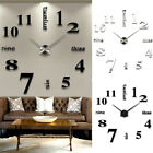 3D DIY Extra Large Home Decor Luxury Mirror Numerals Wall Sticker Clock I9T7S
