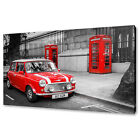 RED MINI CAR RED PHONE BOXES LONDON STREETS BOX CANVAS PRINT WALL ART PICTURE