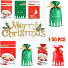 Kyпить Xmas Sacks Storage Wrap Present Drawstring Christmas Gift Bags Reusable 1-50 PCS на еВаy.соm