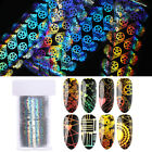 Holographicss Nail Foils Rose Flower Line Geometic Nail Art Transfer Decals Tips