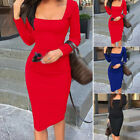 Women Cocktail Evening Party Sexy Bodycon Slim Fit Long Sleeve Office Work Dress