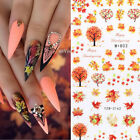 5 Sheets Autumn Maple Leaf Nail Water Decals Transfer Nail Art Stickers Decors