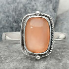 Natural Peach Moonstone 925 Sterling Silver Handmade Ring Jewelry s.9 SDR66722