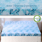 2.5,3,4 Inch Gel Memory Foam Mattress Topper Lavender Blue Swirl Queen King Twin image