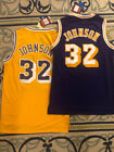 NWT #32 Earvin Magic Johnson Los Angeles Lakers Throwback Basketball MENS Jersey
