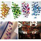 New 24pcs(2 Set) 3d Butterfly Wall Stickers Magnetic Decals Home Room Decor Us