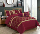 HIG 7 Piece Comforter Set, Taffeta Fabric Embroidered - Claremont Bed in A Bag image