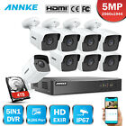 ANNKE H.265+ 8CH DVR 5MP Video Outdoor CCTV Security Camera System Motion Alert