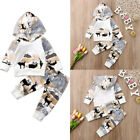 New Newborn Baby Boy Girl Graphic Hooded Tops Sweatshirt Long Pants Outfits