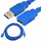 USB 3.0 Extension Cable 1.5FT 5FT 10FT 15FT 30FT A Male to Female Cord Blue Lot