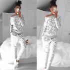 Women's Tracksuit Sportwear Casual Sweatshirt Pants Set Jogging Gym Sweat Suit