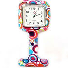 Silicone Square Dial Brooch Analog Quartz Nurse Fob Watch Steady Clip-on