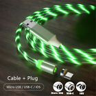 US LED Flowing Light Up Magnetic Fast Charger Cable For Micro USB Samsung iPhone