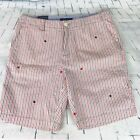TOMMY HILFIGER Men's Red Gray Striped Embroidered Stars Shorts ~ NWT