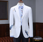 Embroidery Bird White Suits Men Slim Fit With Pants Formal Wedding Prom Tuxedos