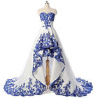 White Satin Wedding Dresses With Blue Lace Sweetheart A Line High Low Bride Gown