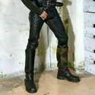 Mens-New-Genuine-Leather-BIKER-SADDLE-PANT-BLACK-Pants-Quilted-Trouser-jeans-Gay