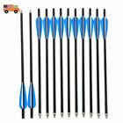12/24pk Crossbow Bolts Screw in Tips Carbon Arrows Target Hunting Train Archery