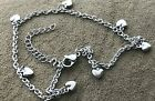 """Stainless Steel Puffy HEARTS  Anklet  9 1/2"""" + 2"""" Extension  $6.99 image"""