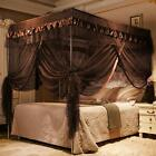 Coffee Brown Ruffle Four 4 Post Bed Canopy Netting Curtains Sheer Panel ANY SIZE image