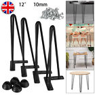 4x Hairpin Table Legs 2/3 Prong 10mm Iron 8* 14* 16* 28* Coffer Table Desk Bench