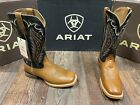 Men's Square Toe Top Hand western boot by Ariat. Cattleguard brown/bayou blk