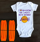 Los Angeles Lakers Onesie Bodysuit Shirt Outfit Love Watching With Mommy on eBay