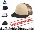 Mega Cap Mens Foam Mesh Front Flat Bill Trucker Cap Hat 6875 five-panel