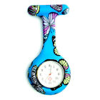 New Butterfly Silicone Nurse Watch Round Tunic Brooch Fob Quartz Pocket Watches