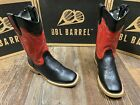 Children's Trail Boss square toe western boot by Double Barrel. Blk/red