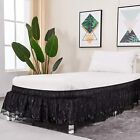 AmHoo Lace-Trimmed Wrap Around Bed Skirts,Easy Installation to mattress-15 Drop( image
