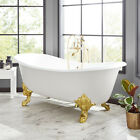 "72"" Lena Cast Iron Clawfoot Light Gray Bathtub with Monarch Imperial Feet"