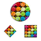 WALL CLOCK - CLOCK ON GLASS Cupcakes Sweets Colorful - 12 SHAPES - UK 2692