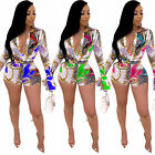 Fashion Women Colorful Printed V Neck Long Sleeves Bodycon Short Club Jumpsuit
