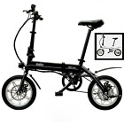 """Eelo 1885 Pro 14"""" Folding Electric Bike w/ Lithium Battery 15 mph Up to 40 Miles"""