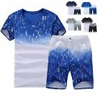 2pcs Men Tracksuit Short Sleeve T shirt Shorts Set Jogging Sports Casual Suits