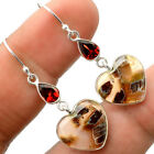 Heart Tube Agate and Garnet 925 Sterling Silver Earrings Jewelry SDE27306